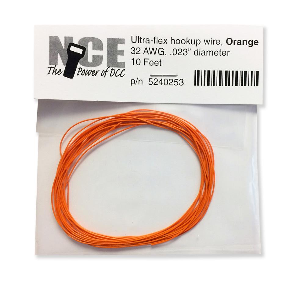 NCE 5240253 Ultraflex Wire, 32 Gauge 10 feet, Orange