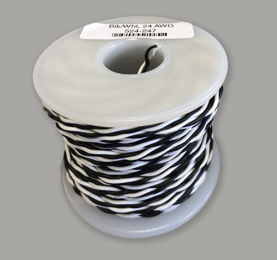 NCE 524.247, 24 Gauge Stranded Twisted Pair Wire, Black White 100 feet