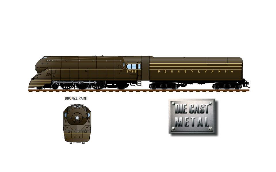 Broadway Limited Imports BLI-4432, HO Streamlined PRR K4s w Par3 Sound, Bronze w High Keystone, #3768
