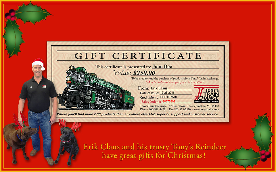 Tony's Train Exchange Gift Certificate