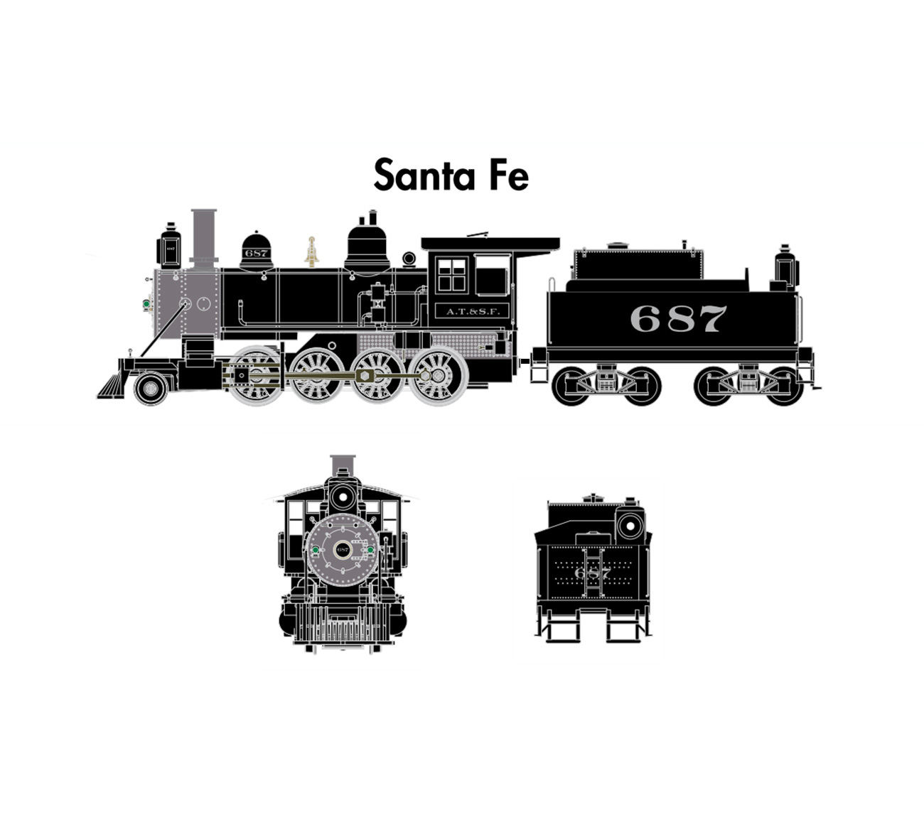 Scale steam locomotives for sale n scale steam locomotives - Athearn N Scale Old Time 2 8 0 Dc Atsf 687 Ath06800