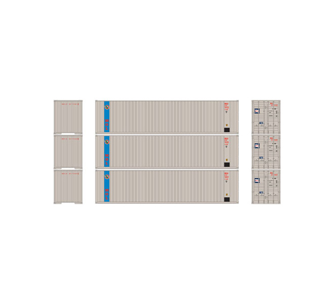 Athearn Ready To Roll ATH29195, HO 40' Container, APL (3 Pk)