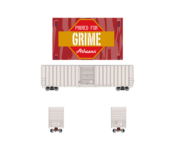 Athearn ATH72632, Ready to Roll HO 60' FMC Hi-Cube X-Post Boxcar, Undecorated