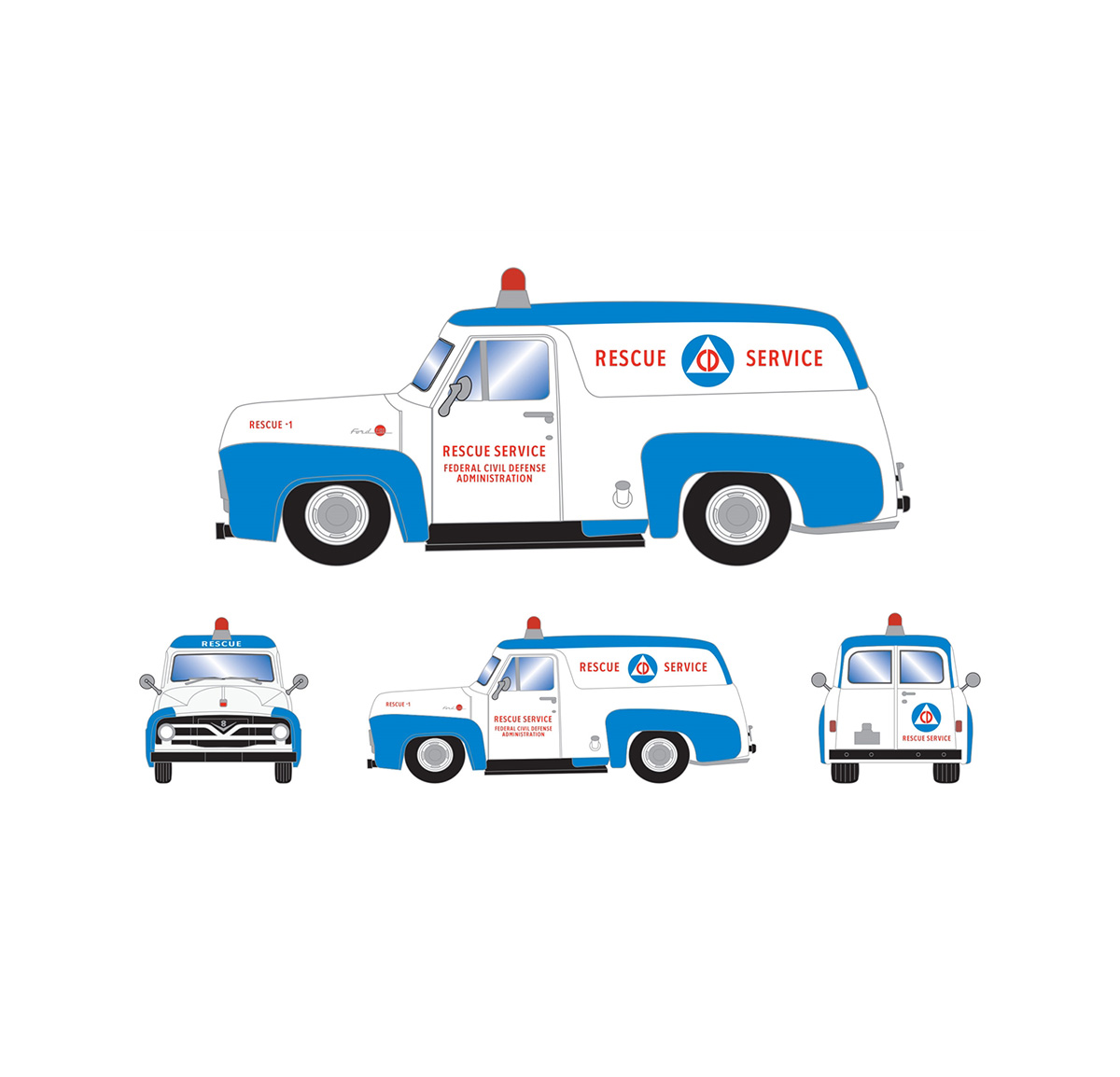 athearn_readytoroll_ho_ford_1955_f-100_panel_truck_civildefense