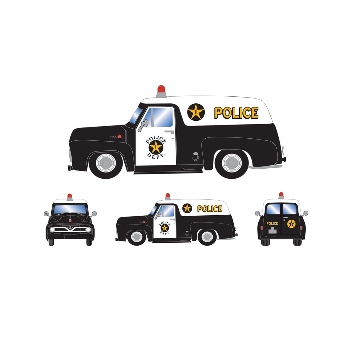 athearn_readytoroll_ho_ford_1955_f-100_panel_truck_police