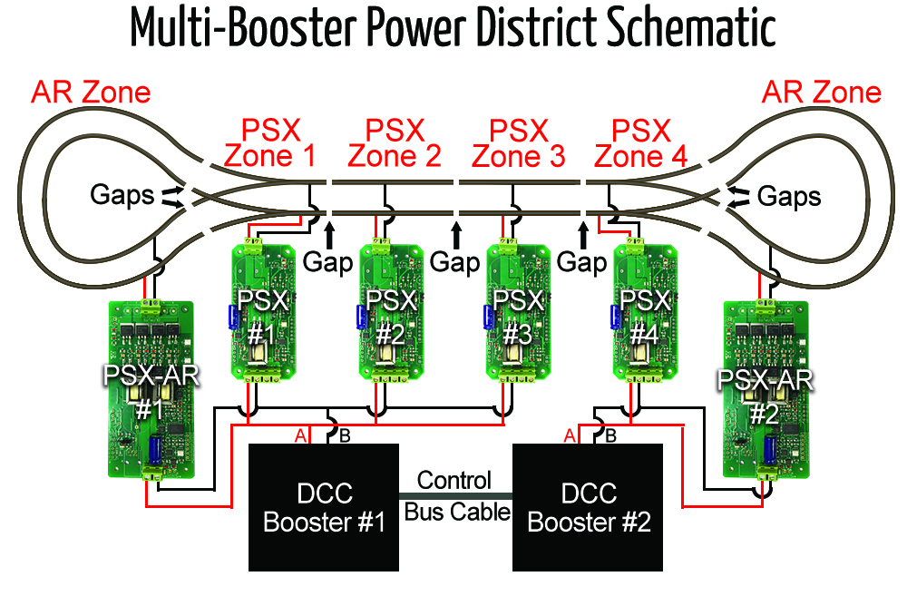 Multi-Booster-Power-District-Schematic-med-resolution Booster Wiring Diagram Digitrax on for detection signaling, reversing module, pm42 bdl168, command station, diagram for bdl168 detection, mars light two bulbs, sfx004 decoder, reversing switch, ds-64 input,