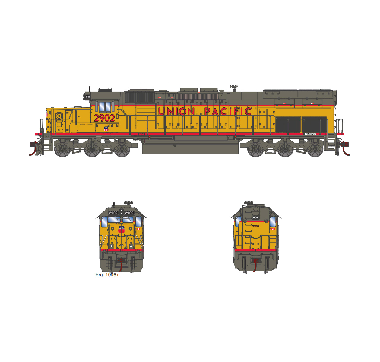 Athearn ATH86804, RTR HO EMD SD40T-2 w SoundTraxx DCC, UP #2904