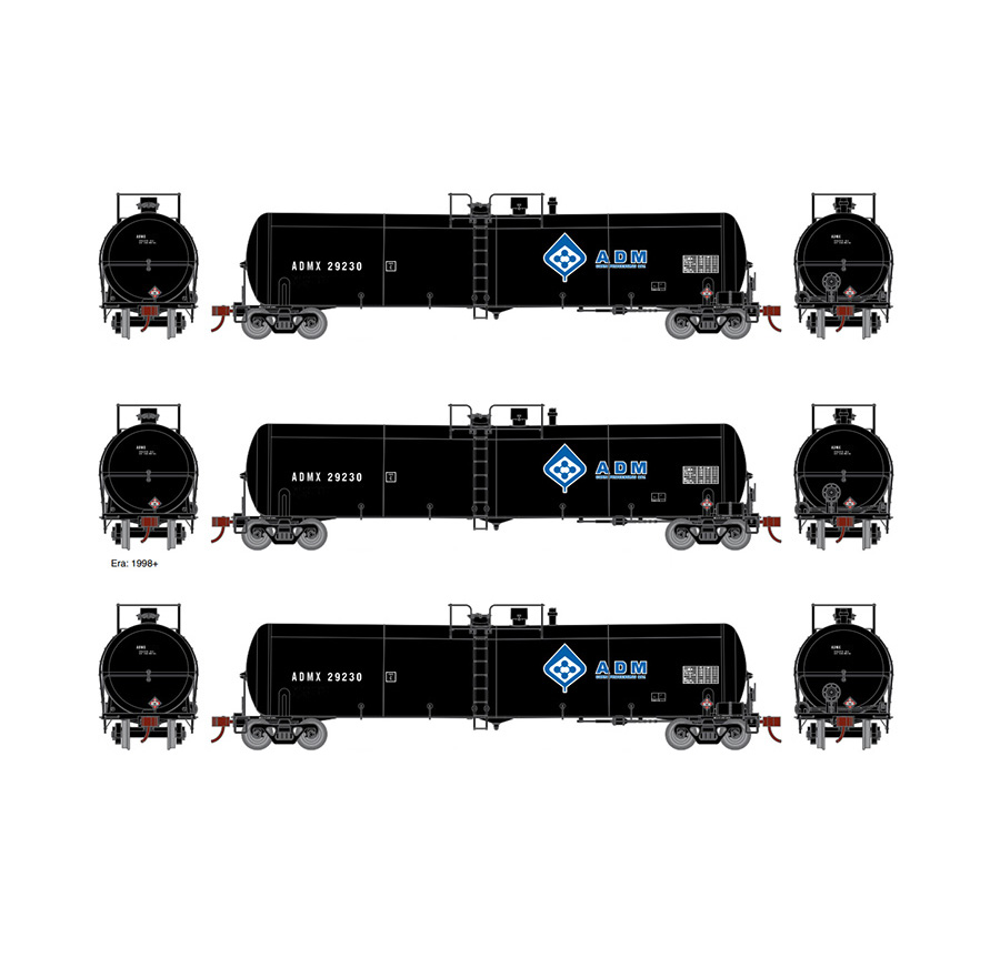 Athearn ATH16516 Ready to Roll, N 30,000 Gallon Tank 3 Pack, ADM Set #1
