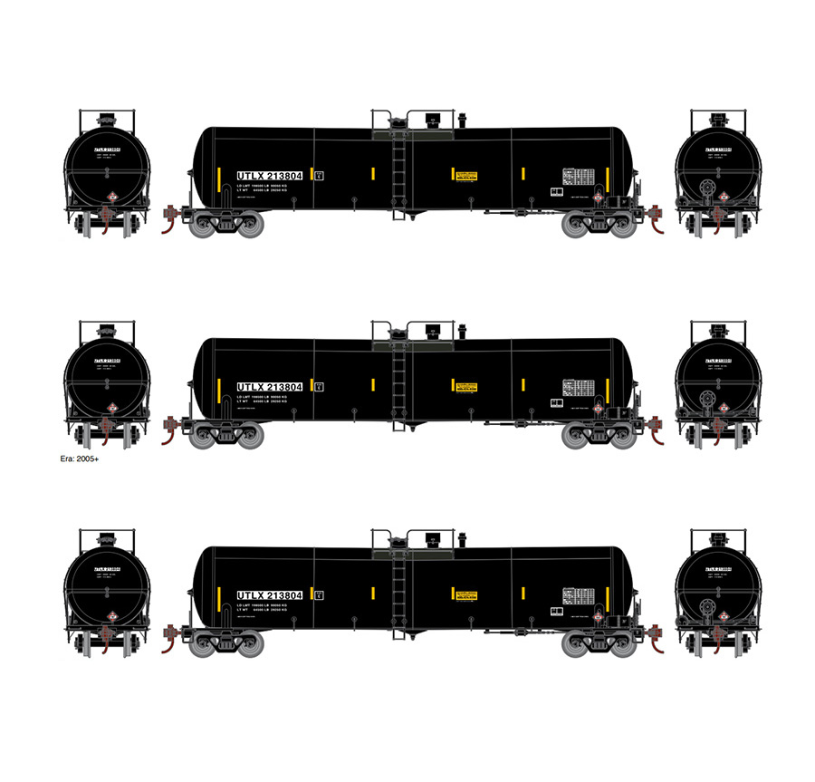 Athearn ATH16514 Ready to Roll, N 30,000 Gallon Tank 3 Pack, UTLX Set #3