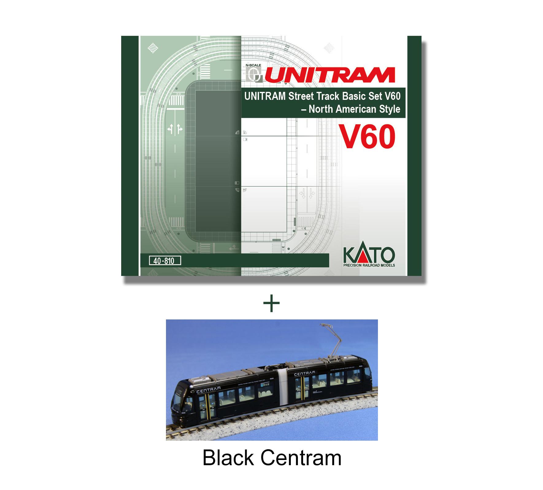 Kato N 40 810 4 V60 Unitram Track Set Bundled W Light Rail Black Centram Wiring